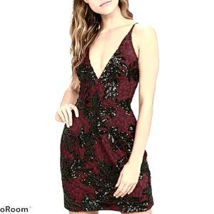 DRESS THE POPULATION Jordyn Lace Sequin Dress